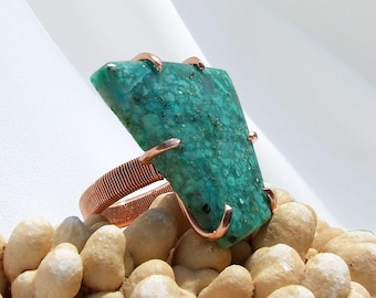 Chrysocolla Ring, Modern jewelry, large stone ring, copper ring, green stone ring, natural stone, hand cut cabochon, ring size 10