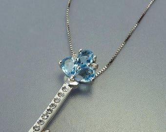 Sterling Silver Rhinestone Key Pendant Necklace