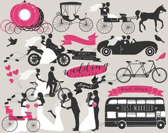 Hand drawn wedding clip art - wedding clipart bride groom vector silhouettes carriage motorcycle bike wedding transportation commercial use