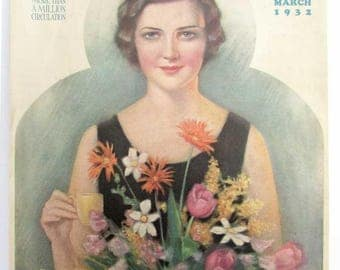 Vintage 1932 Farmer's Wife Magazine Cover Lithograph Illustration, Print by Haskell Coffin, Young Woman w Springtime Flower Bouquet