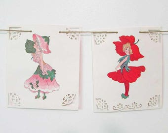 Flower Children Paper Banner, Paper Garland, Nursery Decor, Vintage Images, Wedding Garland, Flower Girls and Boys Banner, Child's Room
