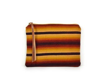 cosmetic pouch • striped make up bag • honduran textile - red yellow black - waxed canvas - striped • large clutch - make up bag