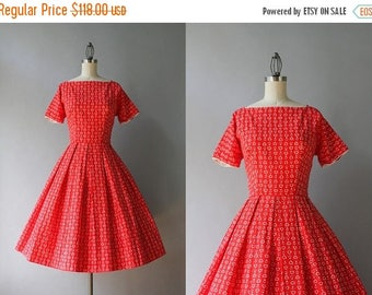 STOREWIDE SALE Vintage 50s Dress / 1950s Lanz Cotton Dress / 50s Heart Print Pleated Day Dress XS S extra small