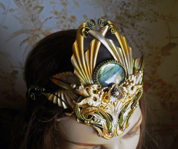 Gothic Steampunk Dragon Queen Crown with Labradorite Stone