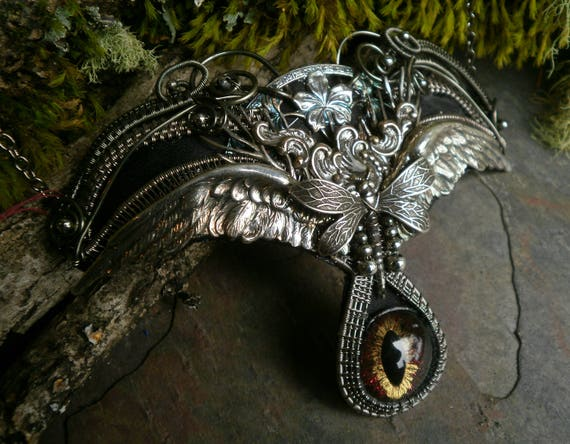 Gothic Steampunk Necklace in Silver with Dragonfly and Wings