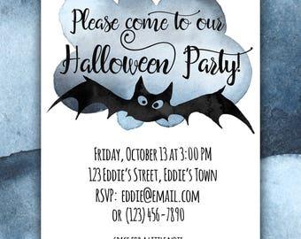Black Bat Halloween Party Invitation: Editable PDF Printable Digital Instant Download Childrens Party Invitation