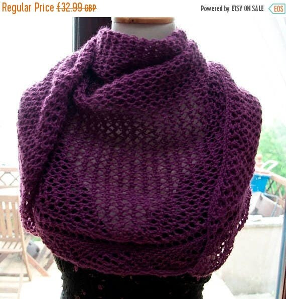Christmas In July Handknitted Triangular Shawl in Purple
