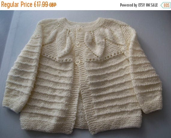 Christmas In July Handknitted White Cardigan with Leaf Design to fit 2 Year Old.