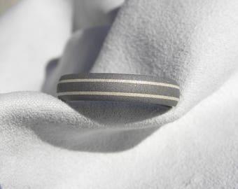 Titanium Ring, Wedding Band, Silver Pinstripes, 5mm, size 10.5, Clearance Listing, Sandblasted