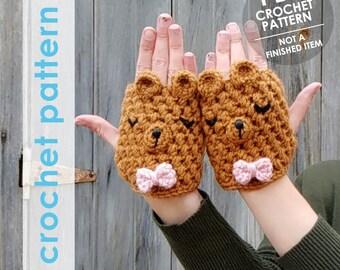 fingerless gloves crochet pattern, fingerless mittens, bear gloves, crochet animal gloves, hand warmers, texting gloves, fingerless mitts