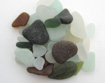 English beach glass, sea glass, Surf tumbled glass, Cornwall, eco craft supply, jewelry making supplies, 30 frosted pieces, UK collector