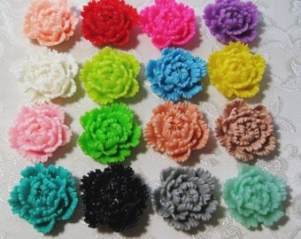 Resin Ruffled Carnation Flower Cabochons No Hole Choose your Colors 24mm Beads 939