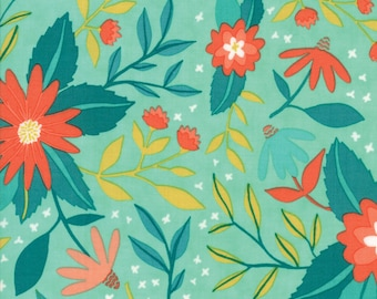 Midnight Garden Fabric // Teal Floral Quilting Fabric  // 1canoe2 // cotton quilting