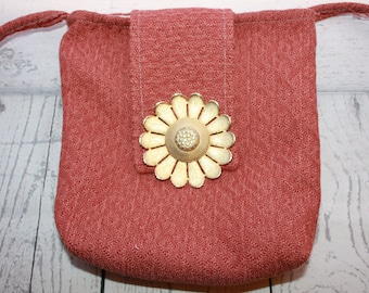 Cross body purse, tote, bag, made with upholstery fabric, flower broach