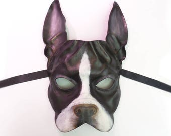 Boston Terrier Dog Leather Mask could be French Bulldog Frenchie also... Display as Art or super light & easy to wear