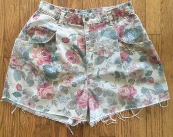 Vintage 90s Floral High Waist Denim Cut Off Shorts - 30 inch waist