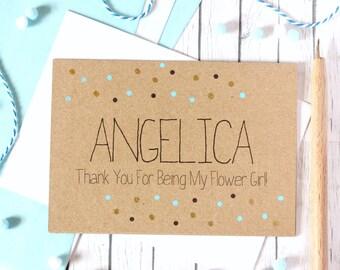 Personalised Flower Girl Card. Flower Girl Thank You Card. Thank You for being my Flower Girl. Flower Girl Thanks. Flower Girls Card.