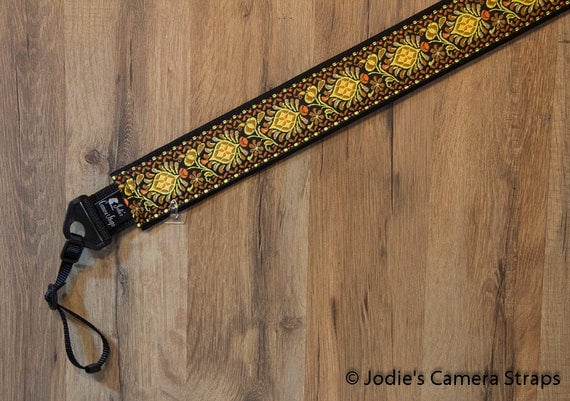 Camera Strap 2 in Wide Custom Padded Shells Gold Yellow Orange Brown DSLR SLR