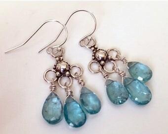 XMAS IN JULY 20% off, Apatite and Sterling Trio Chandelier Earrings, gemstone earrings, natural apatite, bright blue earrings
