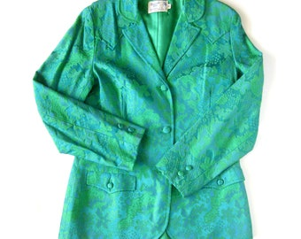 Vintage Western Wear Jacket or Blazer / Panhandle Slim Cowgirl Coat / Western Yoke / Green and Blue Brocade Coat / Rodeo Outfit / Size 16