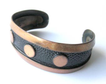 Hammered Solid Copper Cuff Bracelet / Bell Trading / Southwest Jewelry / Native American / Geometric Circle Design / Boho Chic / Hippie Chic