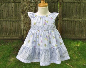 Baby girl peasant dress, Size 12Mo, Lavender roses, Angel sleeves, Tiered dress, Summer Spring,Infant dress, Party dress, Ready to ship