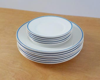 Vintage Homer Laughlin Plates • Vintage Dinner Plates • White Plates with Blue and Gold Ringed Rim