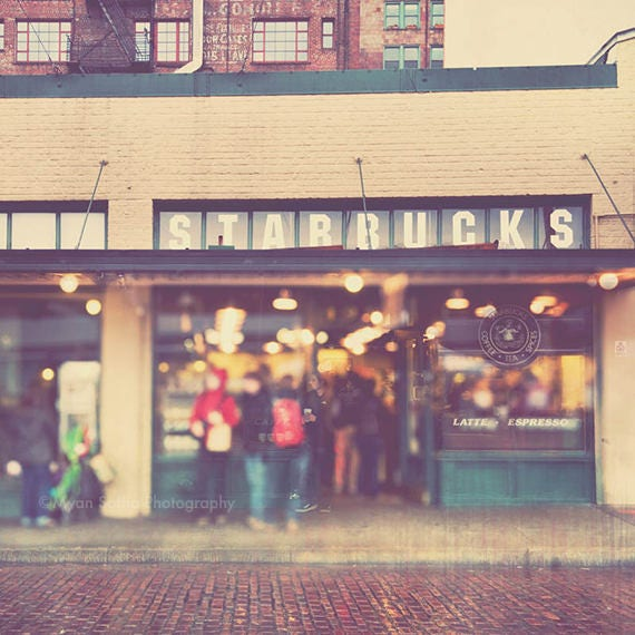 photography, Seattle Starbucks, Pike Place Market photo, coffee lovers gift, photo of first Starbucks coffee shop, A Star is Born, art print