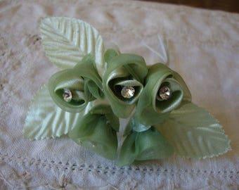 Green silk flowers Millinery wedding flowers apple green rosebuds rhinestones light green wedding bouquet supplies craft supplies hat hair