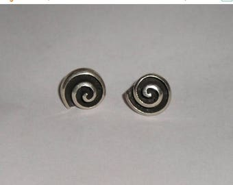 ON SALE Unique Sterling Silver 925 Spiral Circle Earrings