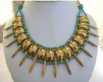 ON SALE REDUCED Unique Egyptian Revival Cleopatra Spiked Gold Plated & Faux Turquoise Choker Necklace