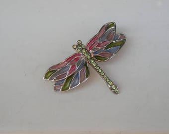 Dainty Monet Plique a Jour Winged Dragon Fly Rhinestone Pin Brooch