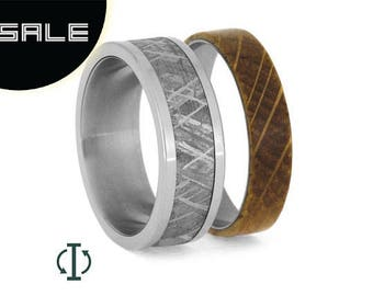 SALE - Interchangeable Meteorite Ring, Whiskey Barrel Wood Wedding Band, Oak Wood Ring With Titanium, Mix And Match
