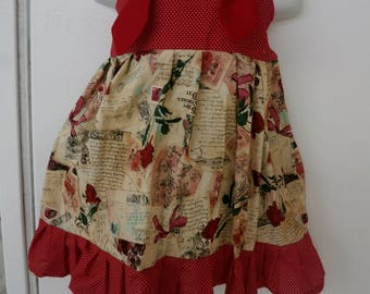 Valentines Day Knot Dress with red roses and love Letters