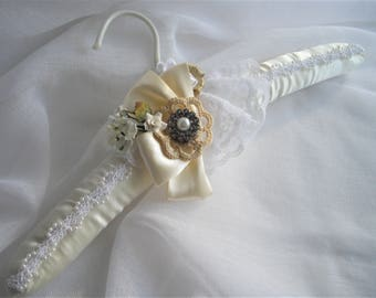 Keepsake Bridal Gown Hanger Vintage Inspired One of a Kind Cream and White Satin Lace Rhinestones Ribbon Roses Crochet Handmade handcraftusa