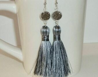 Druzy Tassel Earrings, Black Diamond Druzy Long Silky Tassel Earrings, Tassel Jewelry, Druzy Earrings,  Black Tassel Earrings