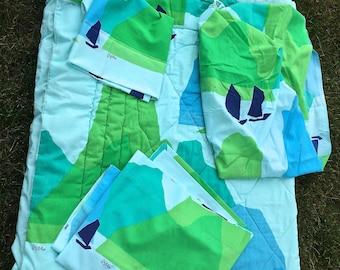 Sale! Vintage Vera Neumann bedding, Sailboats, Sheets and comforter, Vera bedding, Vera Neumann home decor, Vera twin sheets, Vera comforter