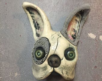 Ceramic french bulldog with flower eyes, day of the dead, wall hanging