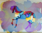Alcohol Ink Horse Painting, set, Trotting horse artwork, prancing horse, colorful horse, matched set of horses, matched pair, matched team