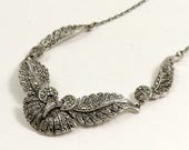 Vintage Art Deco Style Silver Tone Marcasite Necklace