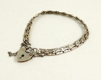Vintage Sterling Silver Gate Bracelet with Heart Padlock Clasp