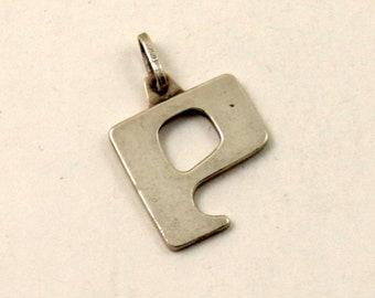 Vintage 925 Sterling Silver Initial Letter P Pendant