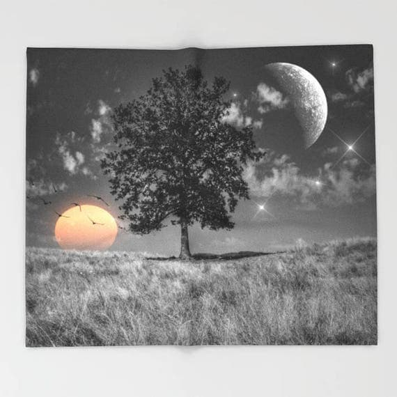 Night and Day Throw Blanket, Surreal Super Soft Blanket, Contemporary Blanket, Home Decor, Dorm, Cozy, Warm, Nature, Dorm, Tree, Moon, Sun