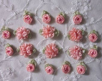 18pc Set HAND STITCHED Lt Coral Ribbon Rosette Spider Rose Flower w Stone Applique Antique Doll Dog Baby Hair Bow