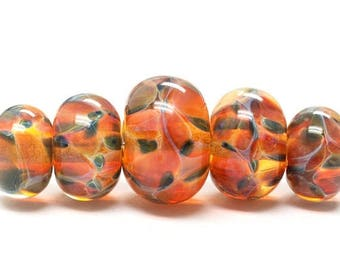 ON SALE 35% OFF Handmade Glass  Lampwork Beads  Sets - Five Graduated Green & Orange Rondelle Beads - 10504711
