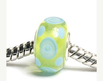 ON SALE 35% OFF Glass Lampwork Beads  - Large Hole Green w/Light Blue Dots Rondelle Bead  - Sc10074