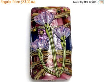ON SALE 30% off Pink w/Purple Floral Kalera Focal Bead 11804203 - Handmade Glass Lampwork Bead