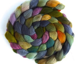 Organic Polwarth Roving - Hand Painted Spinning or Felting Fiber, Old Stone House. 3.95 ounces