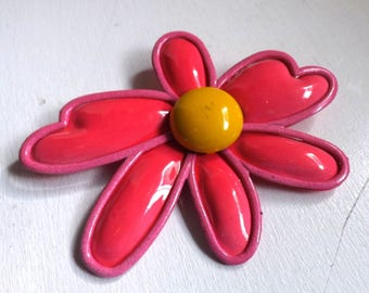 Vintage 1960s groovy large enamel flower pin or brooch hot pink and yellow dimensional layered mod daisy flower power