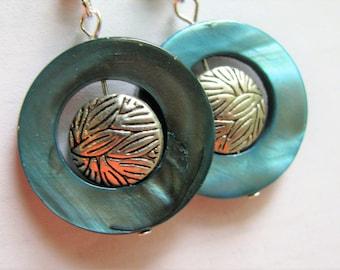 Slate Blue Shell and Silver Earrings, Slate Blue Mother of Pearl Earrings, Round Teal Blue Earrings